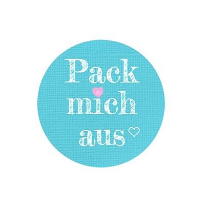 """Aufkleber """"Pack mich aus"""", Rund, Durchmesser 30 mm, 1 Stück"""