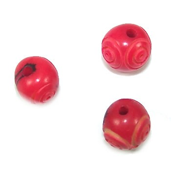 Samenperle, Acaiperle, Rot, Spiralmuster, 1 Stück