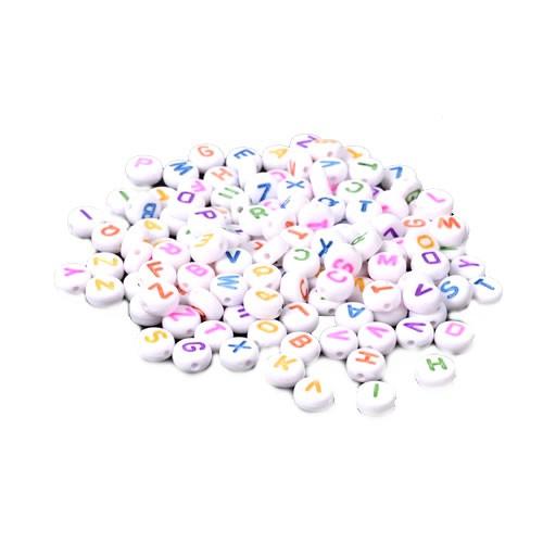 Acrylperlen, Buchstaben, A-Z, Weiß/Bunt, 7mm, E