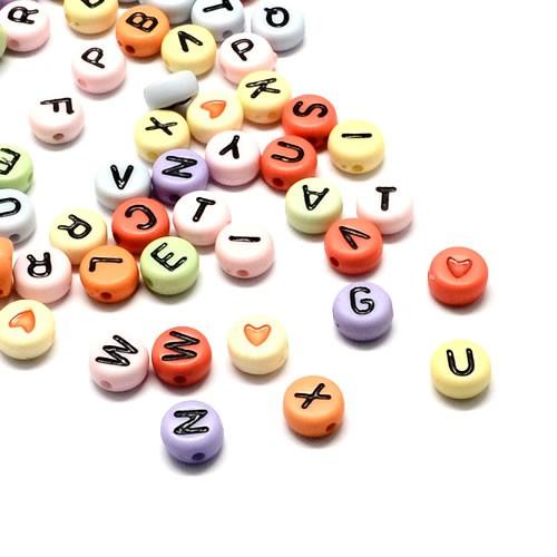 Acrylperlen, Buchstaben, A-Z, Bunt/Schwarz, 7mm, N