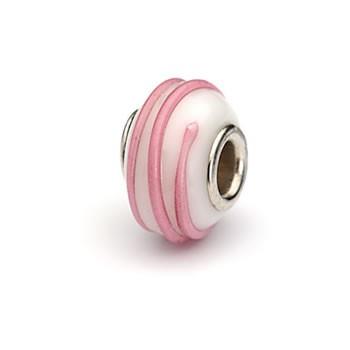 Glasperle, Weiß mit Rosa Spirale, Großlochperle