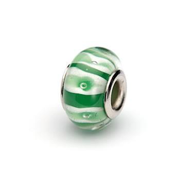 Glasperle, Grün-Weiß gestreift, Großlochperle