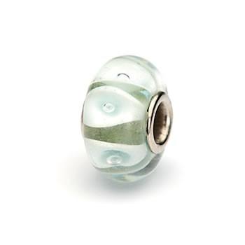 Glasperle,  Mintgrün-Weiß gestreift, Großlochperle