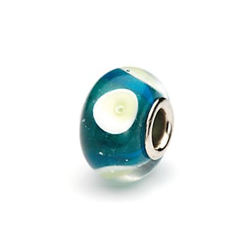 Glasperle, Petrol, Grün-Weiße Augen, Großlochperle