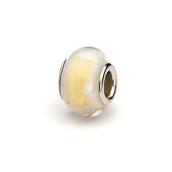 Glasperle, Weiß mit Goldblatt, Großlochperle