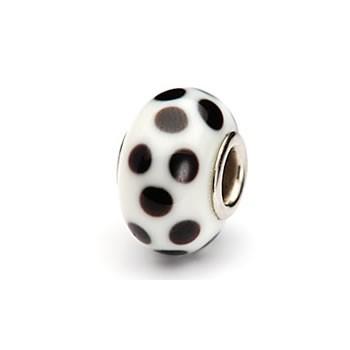 Glasperle, Weiß, Schwarze Punkte, Großlochperle