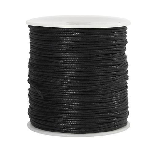 Baumwollkordell, Schwarz, 1mm, 1 Meter