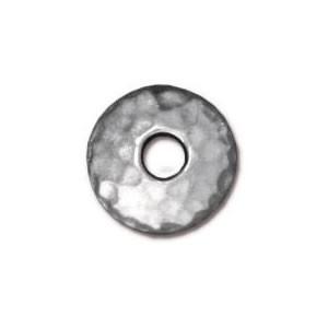 Perlkappe, Gehämmert, 10mm, Rhodiniert, 1 Stück