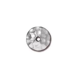 Perlkappe, Gehämmert, 6mm, Rhodiniert, 1 Stück