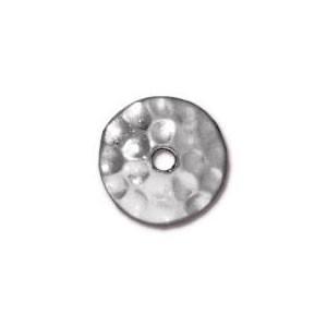 Perlkappe, Gehämmert, 8mm, Rhodiniert, 1 Stück