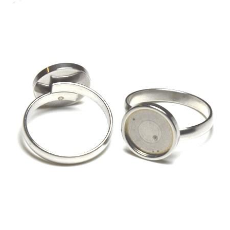 Ring, Cabochon, 304 Edelstahl, 12mm, Verstellbar, 1 Stück