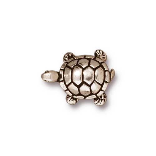 Metallperle, Schildkröte, Antik Versilbert, 1 Stück