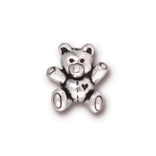 Metallperle, Teddy Bär, Antik Versilbert, 1 Stück
