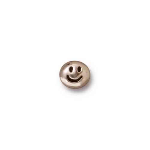 Metallperle, Smiley, Antik Versilbert, 1 Stück