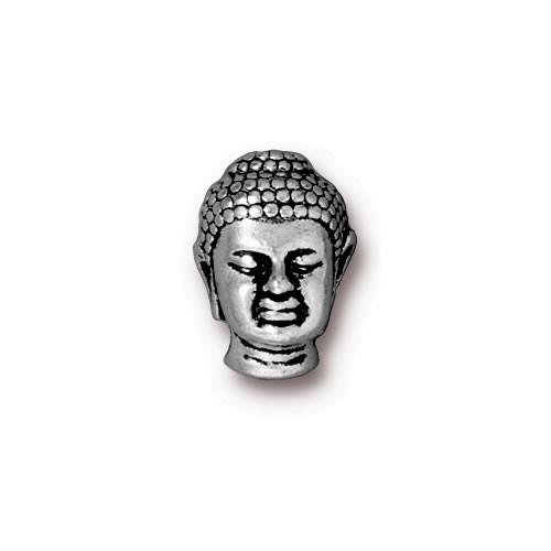 Metallperle, Buddha, Antik Versilbert, 1 Stück