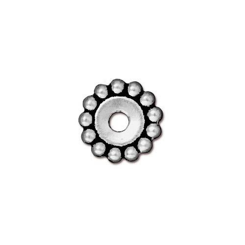 Großlochperle, Spacer, Blume, 12mm, Antik Versilbert, 1 Stück