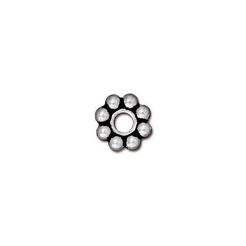 Großlochperle, Spacer, Blume, 8mm, Antik Versilbert, 1 Stück