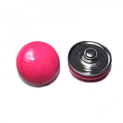 Metall Druckknopf, Naturklebestein, Rosa/Pink, 1 Stück