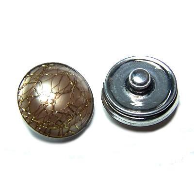 Metall Druckknopf, Kunststoffklebestein, Golddraht, 1 Stück
