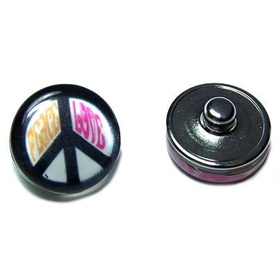Metall Druckknopf, Glasklebestein, Peace, 1 Stück