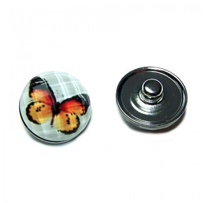 Metall Druckknopf, Kunststoffklebestein, Schmetterling, 1 Stück