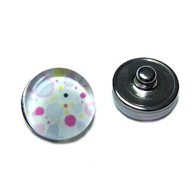 Metall Druckknopf, Glasklebestein, Punkte, 1 Stück