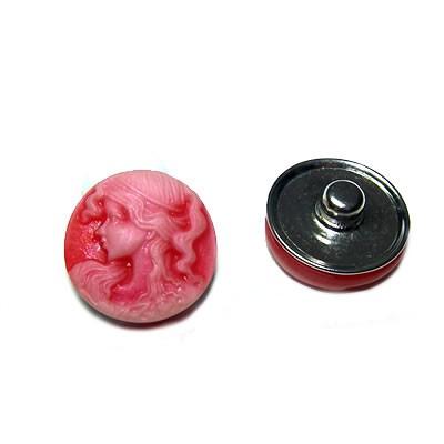 Metall Druckknopf, Kunststoffklebestein, Kamee, Rotrosa, 1 Stück
