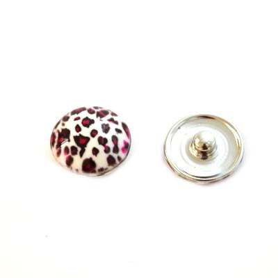 Metall Druckknopf, Kunststoffklebestein, Leopard, Fuchsia 1 St