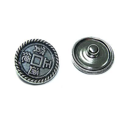 Metall Druckknopf, Chinesische Münze, 1 Stück