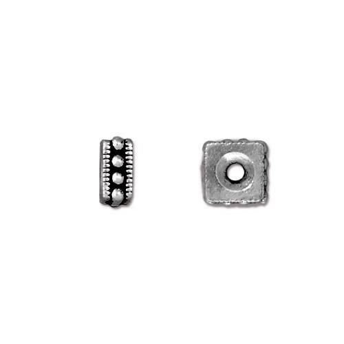 Metallperle, Rococo, 6mm, Antik Versilbert, 1 Stück