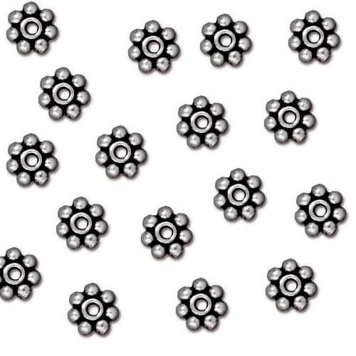 Metallperle, Blümchen, 5mm, Antik Versilbert, 1 Stück