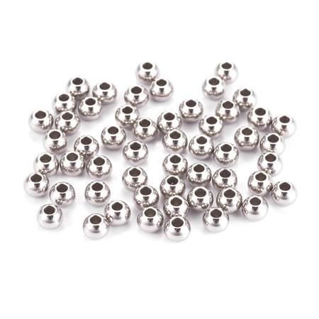 Perle, Rund, 3x2mm, 304 Edelstahl, 10 Stück