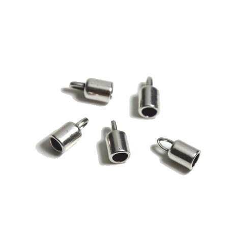 Endkappe, Metall, Silberfarben, Tube, 5mm, 1 Paar