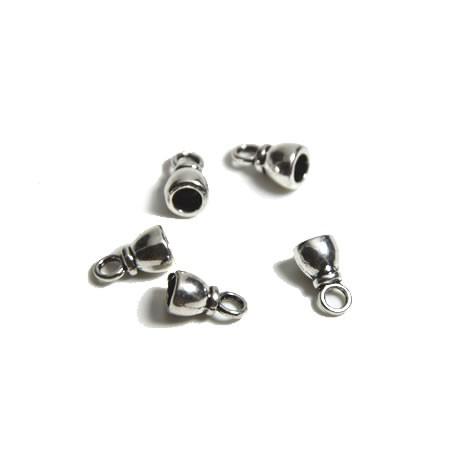 Endkappe, Metall, Silberfarben, Glocke, 5mm, 1 Paar