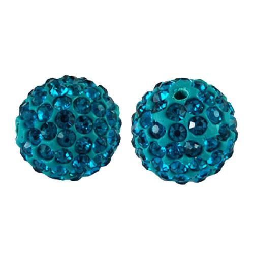 Polymer Clay, Fimoperle, Glitzerstein, Blue Zircon, 10mm,1 Stück