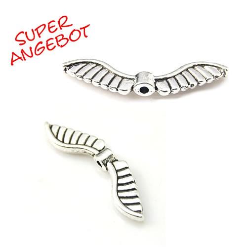 Engelsflügel, 8 Federn, Antik Silberfarben, 25 Stück