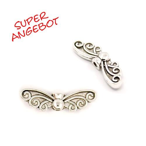 Schmetterlingsflügel, Antik Silberfarben, 22mm, 25 Stück