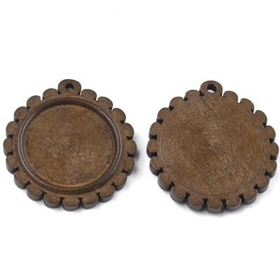 Holzanhänger, Cabochon, Blume, Braun, 25mm, 1 Stück