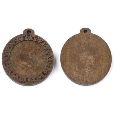Holzanhänger, Cabochon, Tropfen, Braun, 25mm, 1 Stück