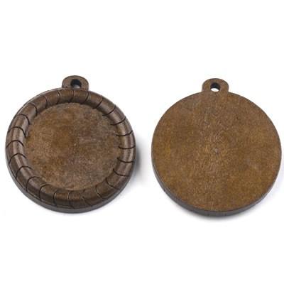 Holzanhänger, Cabochon, Rillen, Braun, 25mm, 1 Stück