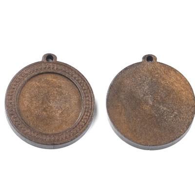 Holzanhänger, Cabochon, Punkte, Braun, 25mm, 1 Stück