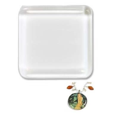 Glascabochon, Glas-Klebestein, Viereck, 23mm, 1 Stück