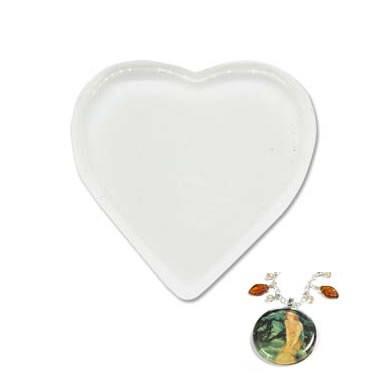 Glascabochon, Glas-Klebestein, Herz, 33mm, 1 Stück
