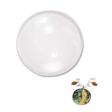 Glascabochon, Glas-Klebestein, Rund, Gewölbt, 25mm, 1 Stück