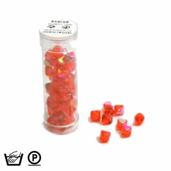 Pyramidenperle, 6mm, Orange AB, ca. 60 Stück