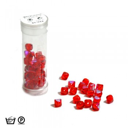 Pyramidenperle, 6mm, Rot AB, ca. 60 Stück