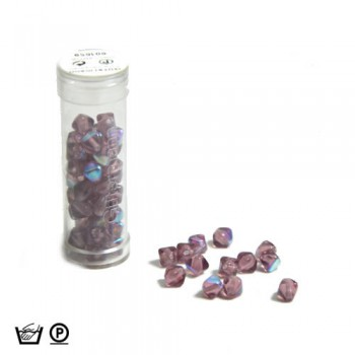 Pyramidenperle, 6mm, Lila AB, ca. 60 Stück