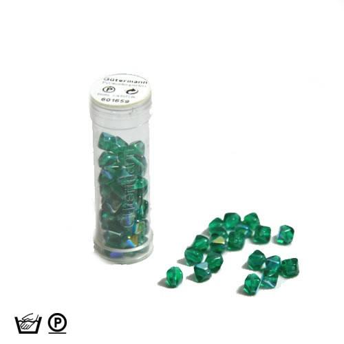 Pyramidenperle, 6mm, Dkl. Grün AB, ca. 60 Stück