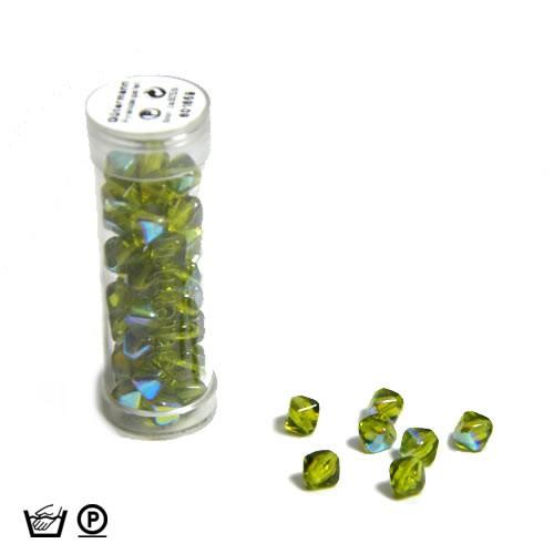 Pyramidenperle, 6mm, Grün AB, ca. 60 Stück