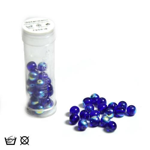Regenbogenperle, 6mm, Dkl. Blau AB, ca. 40 Stück